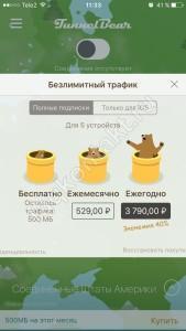 Расширения TunnelBear - для Смартфона - IPhone - выбор тарифа